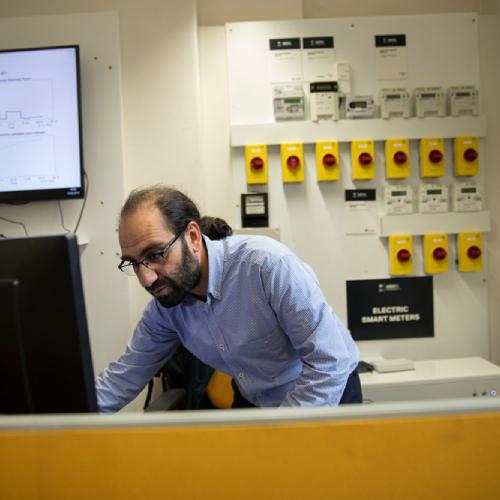 Energy House engineer in lab